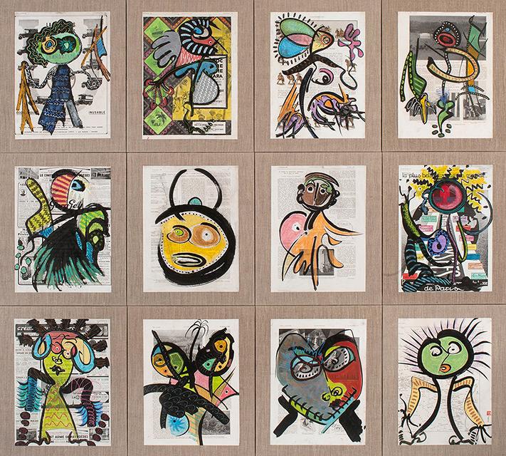 Ethnic 12 - Acrylique sur papier marouflé monté sur toile 140 x 156 cm - 2007