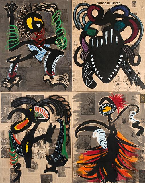 Ethnic 4 - Acrylique sur papier marouflé monté sur toile 186 x 146 cm - 2005