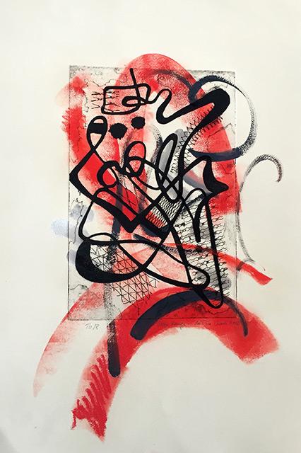 Tourbillon I - Gravure et acrylique 33 x 50 cm - 2010