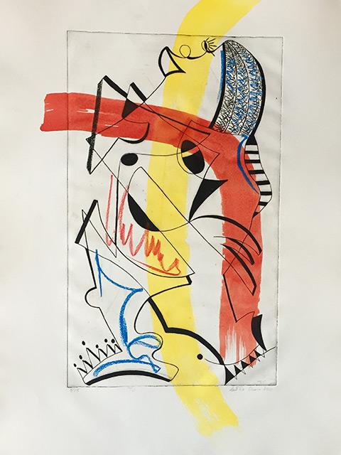 La cantatrice colorée II - Gravure et acrylique 50 x 65 cm - 2012