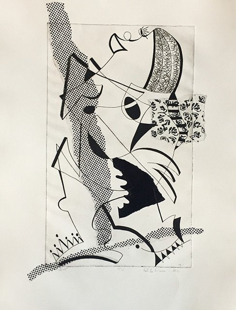 La cantatrice - Gravure chine collé 50 x 65 cm - 2012