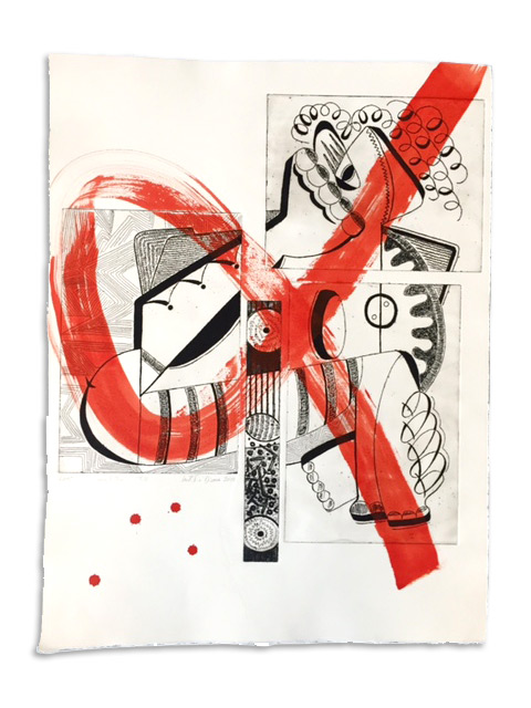 Sydda - Gravure et acrylique sur papier 50 x 65 cm - 2010