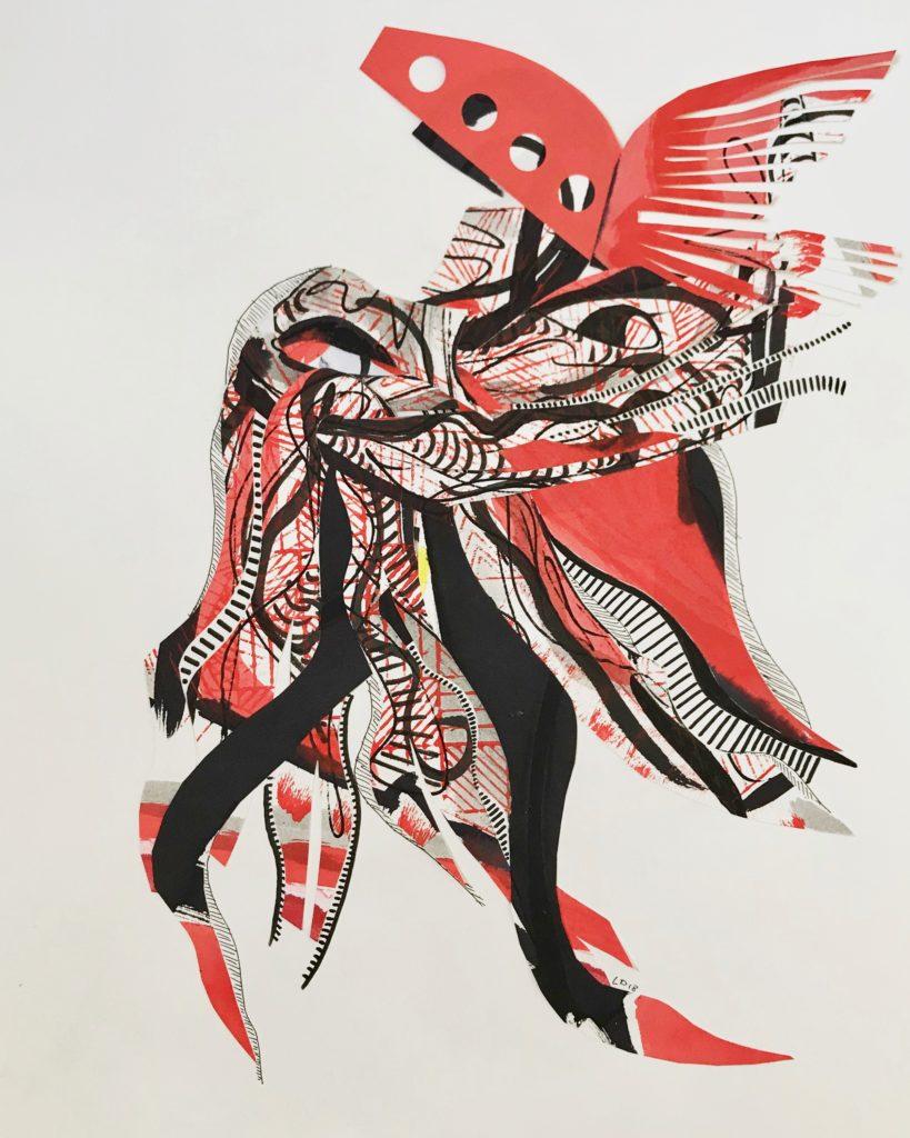 Peau d'âne - papiers unis et peints découpés - crayons et feutres - 50 x 38 cm - 2018