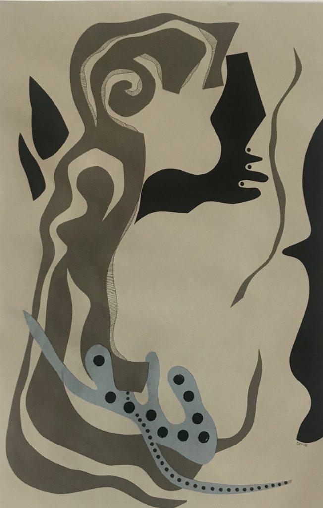 La femme dans la tête - papiers découpés et feutre noir - 50 x 33 cm - 2018