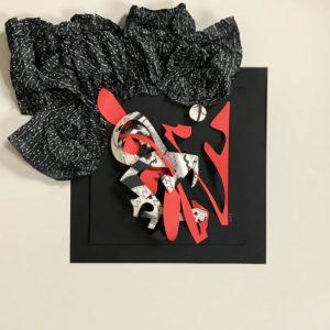 FLATLAND III - La marquise est de sortie - papiers découpés et encre noire - 2019 - 50 x 50 cm