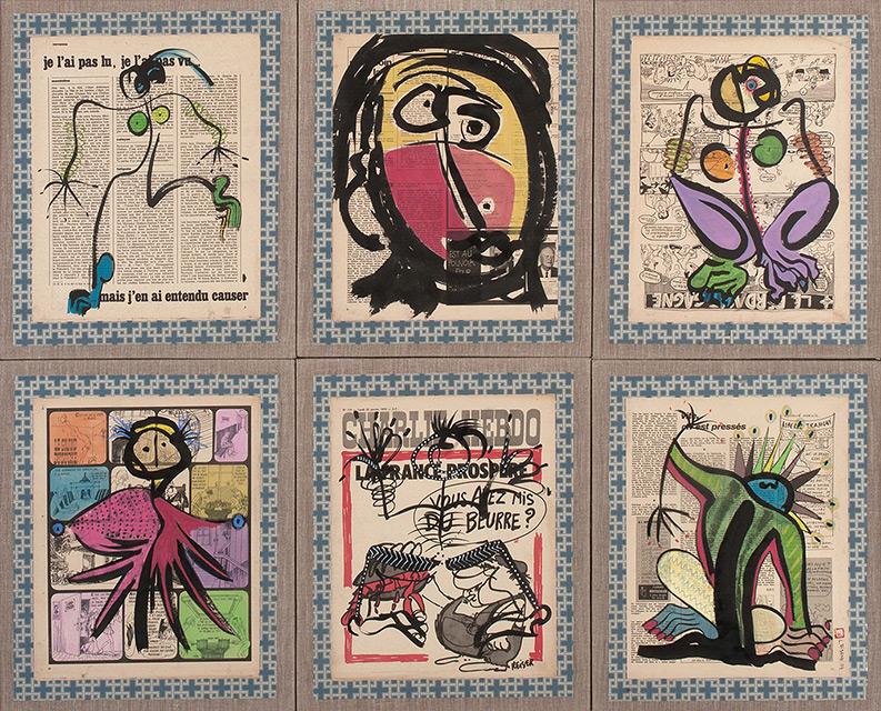 Ethnic 6 - Acrylique sur papier marouflé 116 x 94 cm - 2004