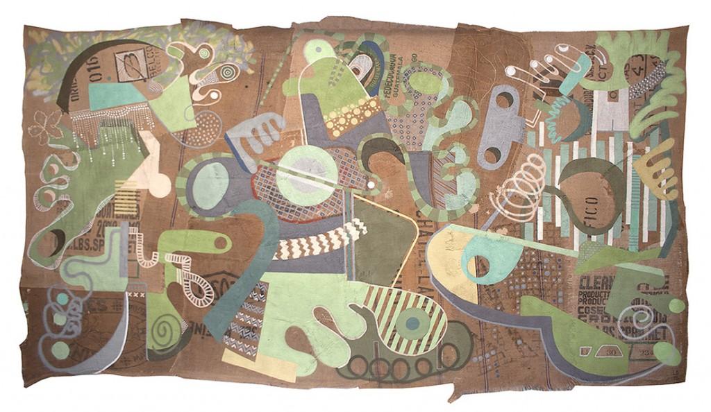 Les Trois Louise - Aérosol sur toile de lin marouflé 410 x 200 cm - 2015