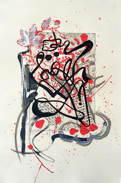 Tourbillon II - Gravure et acrylique 33 x 50 cm - 2010