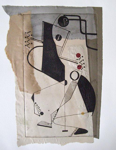 Collage en cercle - Gravure chine-collé - 33 x 50 cm - 2008