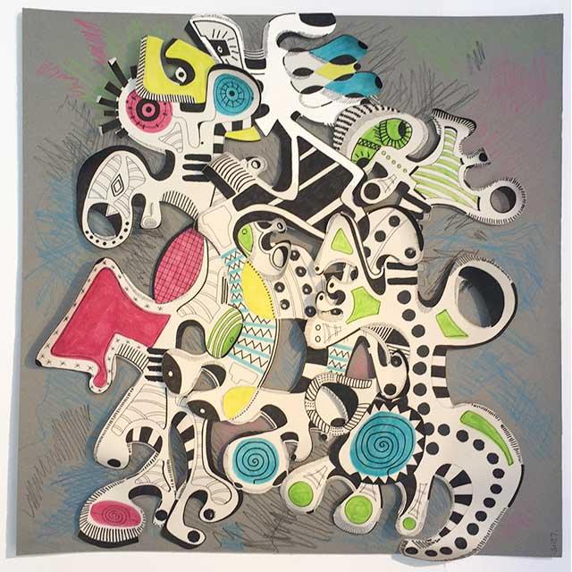 Jeu d'enfants - Papiers découpés et feutres 50 x 50 cm - 2015