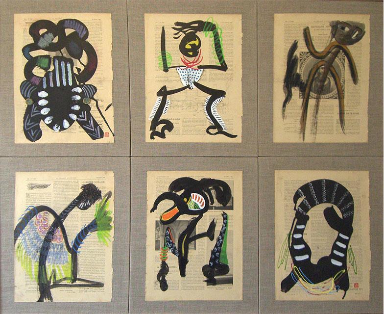 Ethnic éthnique - Acrylique sur papier marouflé 116 x 94 cm - 2004