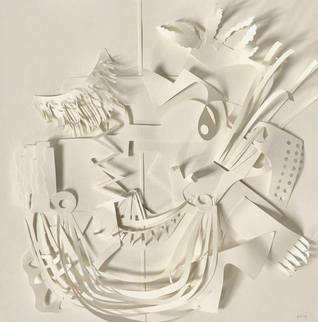 Parure de chef - papiers découpés et pliés - 50 x 50 cm - 2018
