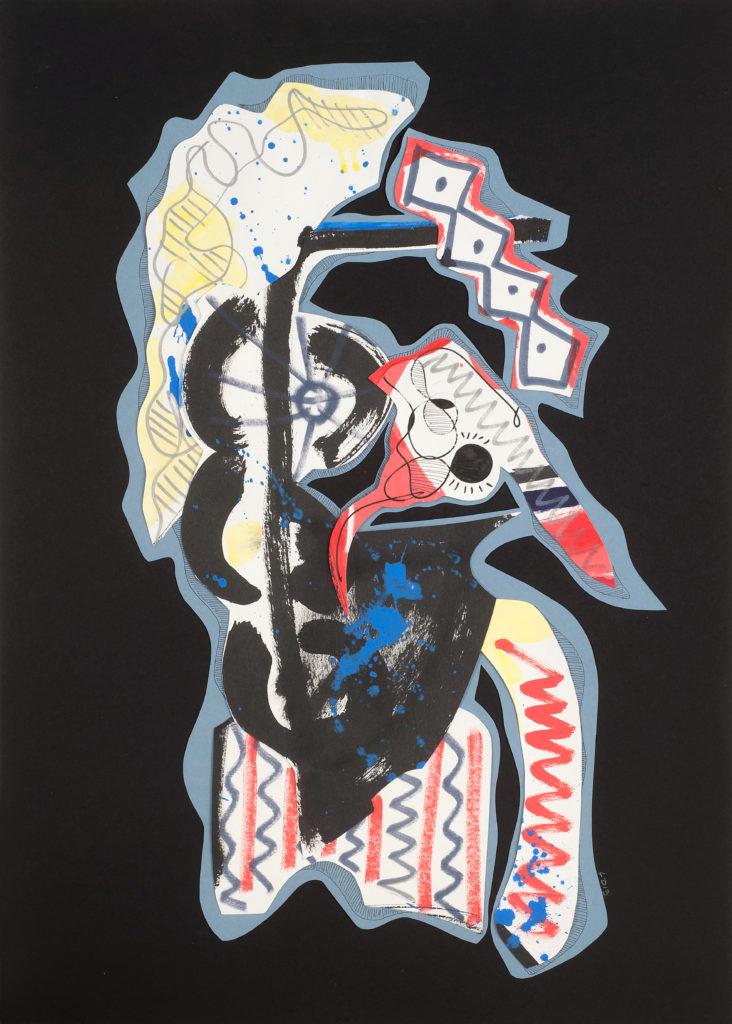 L'HOMME A LA TETE D'ENCRE - collage de papiers découpés peints - 2019 - 65 x 50 cm