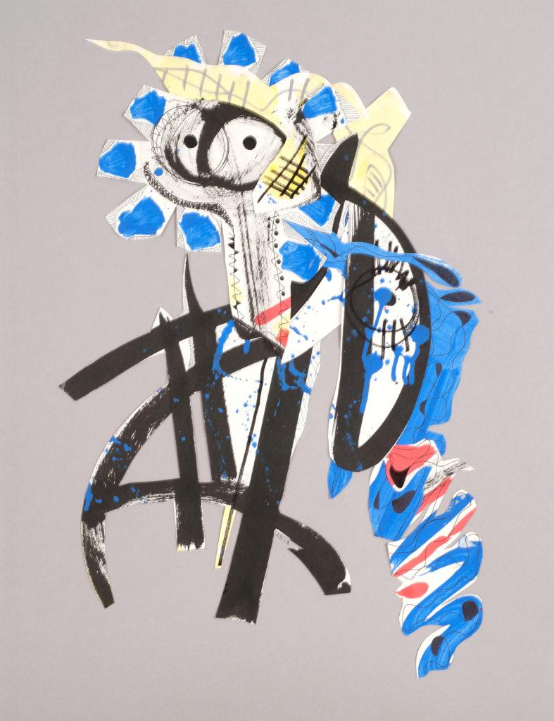 LA FOURMI DANSEUSE - collage de papiers découpés peints - 2019 - 65 x 50 cm